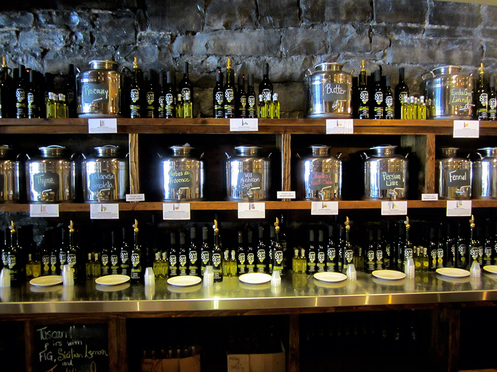 The offerings at Kingston Olive Oil.