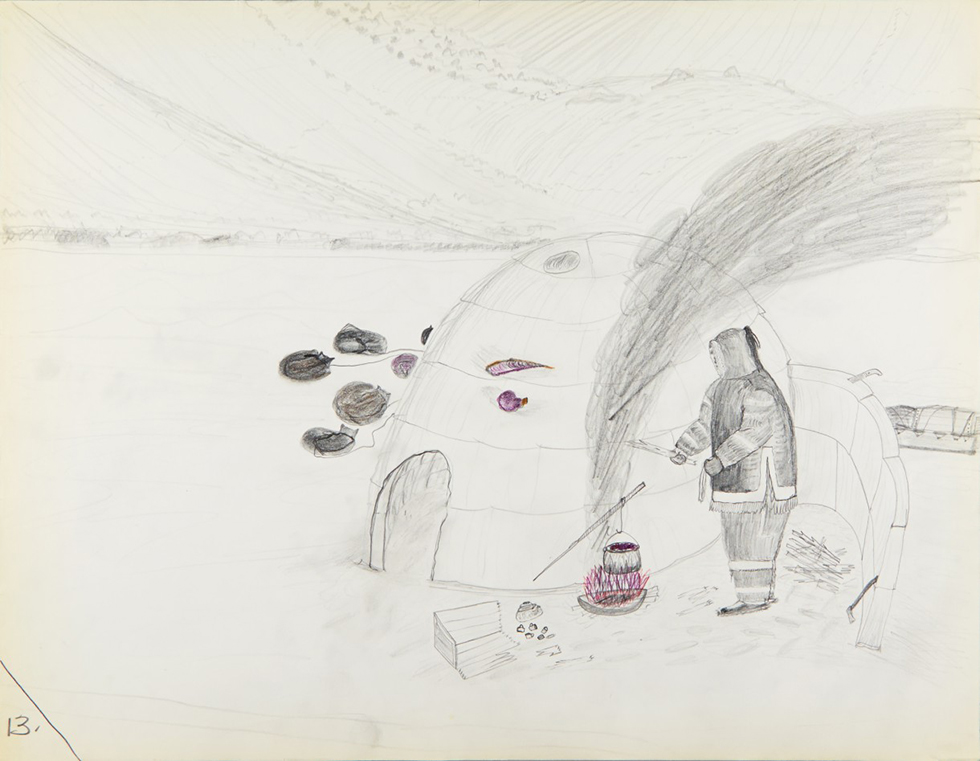 Cornelius (Kooneeloosee) Nutarak (Pond Inlet), Using Blubber to Make Fuel, 1964, graphite, pencil crayon on paper, 50 x 65 cm, Canadian Museum of History, IV-C-6952. Photo via The Agnes Etherington Art Centre.