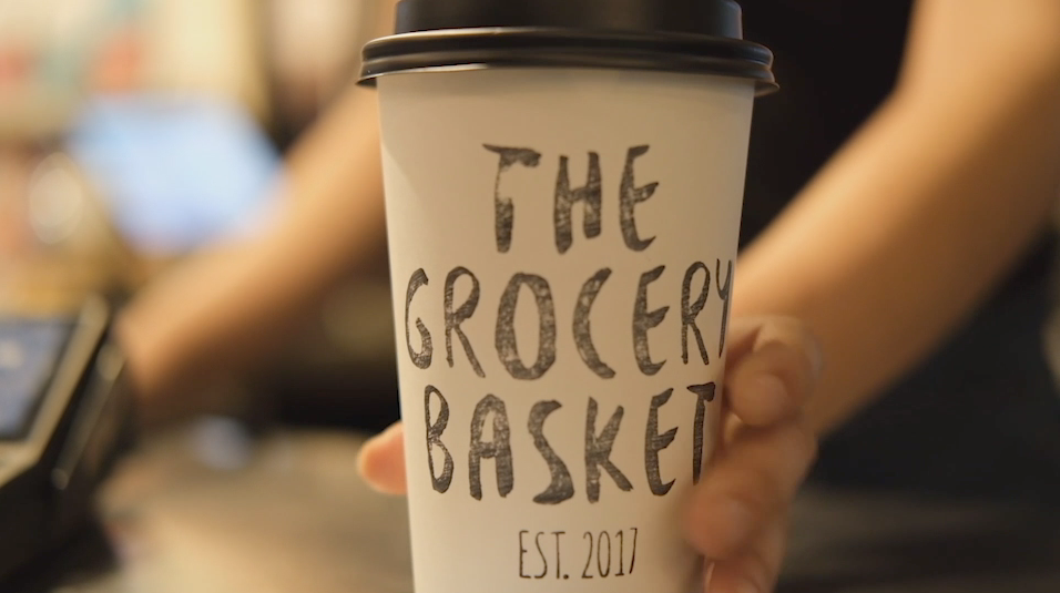 The grocery basket coffee cup